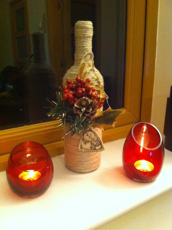 Najnowsze butelka wina, sznurek, mala świąteczna ozdoba i dekoracja świąt RZ53