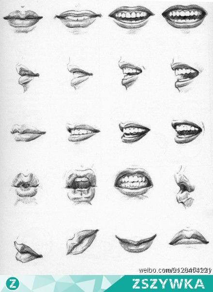 jak narysować usta na kilka sposobów :) na rysunki i ...
