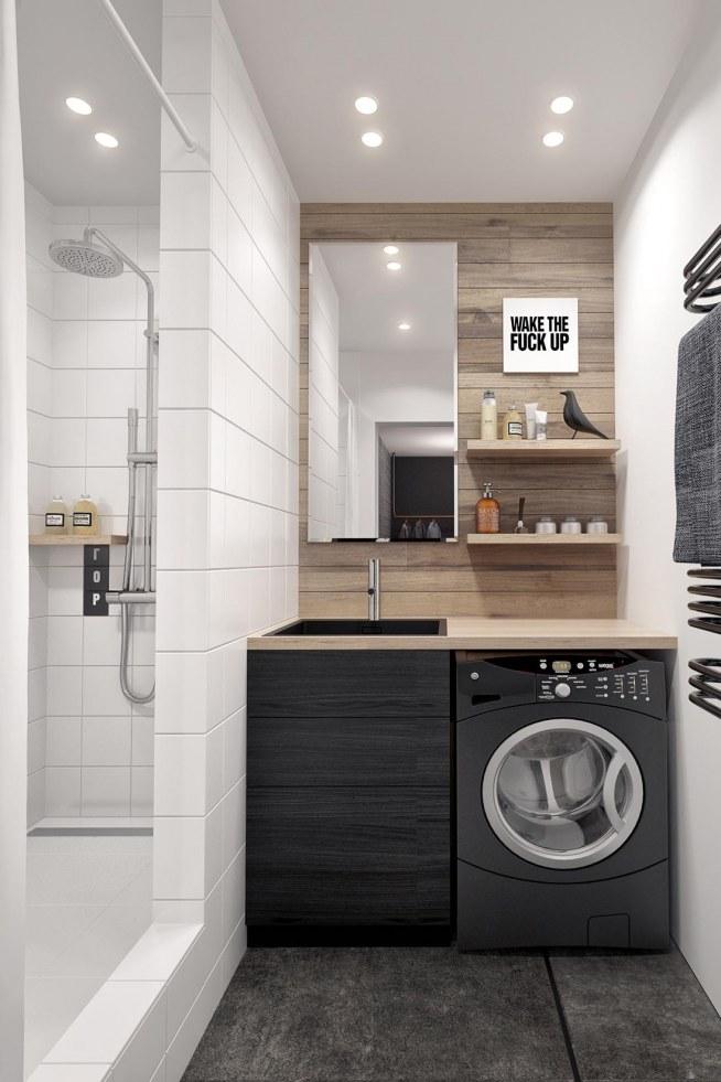 Mała łazienka Prysznic Za ścianką Na Inspiracje Wnętrza