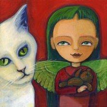 zielony anioł z białym kotem