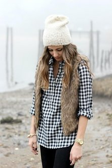 Plaid shirt fur vest