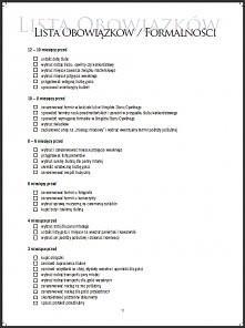 lista obowiązków