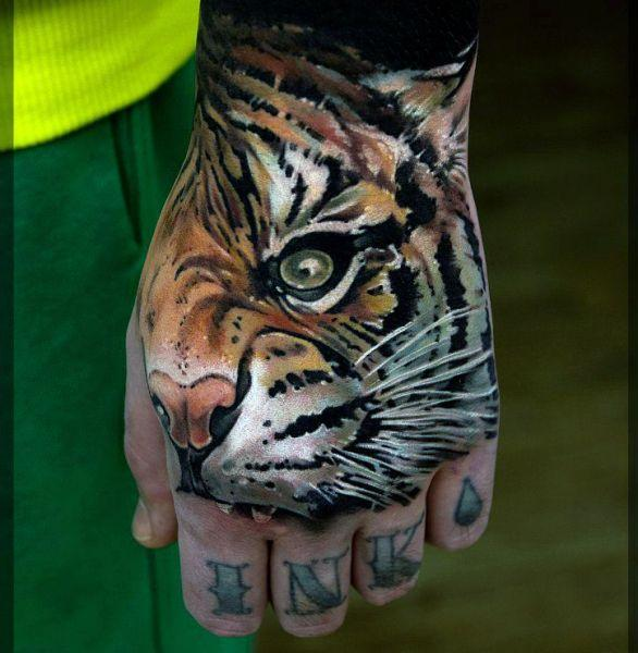 Tatuaż Tygrys Na Dłoni Na Tatuaże Zszywkapl