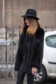 #black #futro #kapelusz