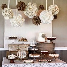 stół z deserami na weselu