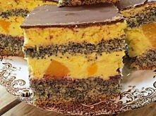 Ciasto makowe z kremem ajerkoniakowym i brzoskwiniami     Składniki na ciasto:   Ciasto makowe z kremem ajerkoniakowym i brzoskwiniami - 7 dużych jaj - 1,5 szklanki mąki tortowe...