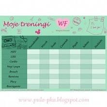 Tygodniowy planner treningowy w ramach projektu Wstępnej Fitnesski do drukowa...