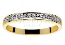 Złoty pierścionek - obrączka z brylantami 0,14 ct Eternity - GRAWER W PREZENC...