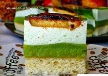 Ciasto Shrek  Składniki na formę 23x32cm:  Na biszkopt: 5 jajek 5 łyżek cukru 5 łyżek mąki pszennej 2 łyżki mąki ziemniaczanej 2 łyżki oleju łyżeczka otartej skórki z cytryny (o...