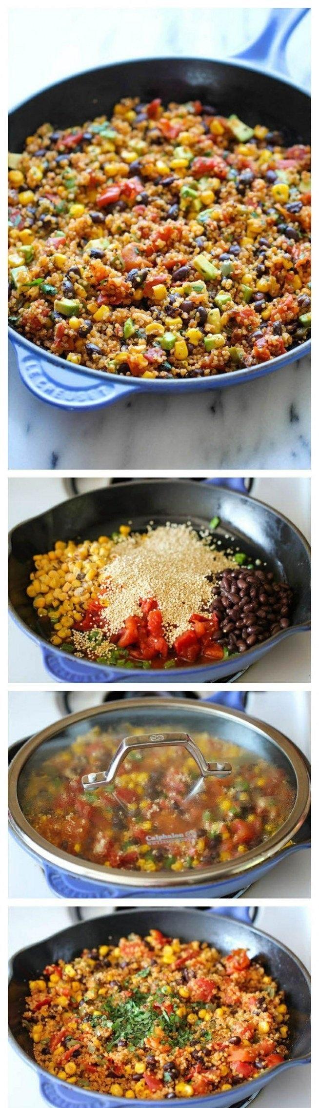 Cebulkę, czerwoną fasolkę, szczypiorek, kukurydzę i czerwone pomidorki (z puszki) podsmażamy na głębokiej patelni. Dodajemy ok szklanki kaszy jaglanej i szklankę bulionu. Gotujemy ok 10-15 min pod przykryciem. Dodajemy ulubione przyprawy (wskazana jest papryka chilli) i trochę soku z limonki. Dusimy jeszcze 5 min i gotowe!