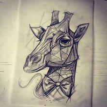 dżiraf :D szkicowane dziarki, zakochałam się w tym stylu! :3