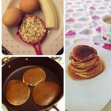 Dietetyczne Pancakes  1banan 2 jajka 0,5 szklanki mleka 1 szklanka płatków ow...