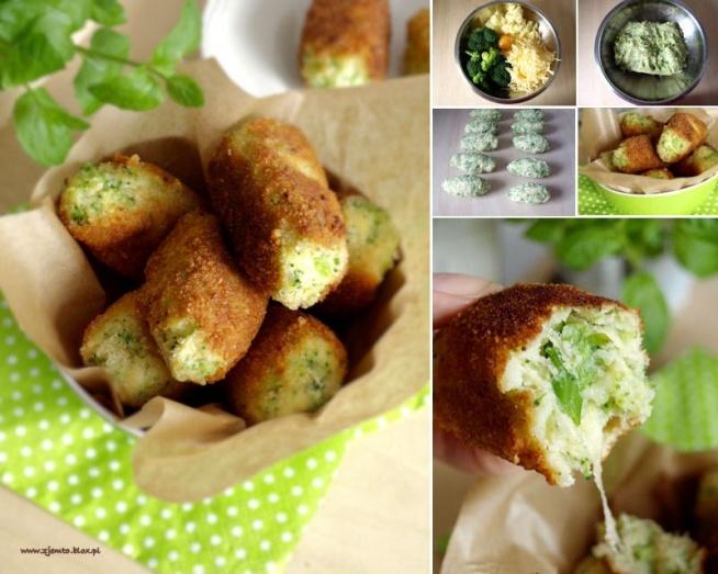 Składniki: (ok 10 krokietów) 25 dkg ugotowanych ziemniaków 25 dkg brokuła 1 jajko 15 dkg startego sera żółtego sól pieprz panierka: 1 rozmącone jajko mąka bułka tarta olej do smażenia Sposób wykonania: Ugotowane (wystudzone) ziemniaki dobrze ugnieść tłuczkiem. Brokuł (bez grubej łodygi) wrzucić na wrzątek i gotować ok.5 minut. Odcedzić i wystudzić. Rozdrobnić widelcem. Dodać jajko, starty ser. Doprawić solą i białym pieprzem. Zagnieść na jednolitą masę. Z przygotowanej masy lepić podłużne krokiety. Obtoczyć w mące, jajku i bułce. Smażyć na rozgrzanym tłuszczu, z każdej strony na złoty kolor. Wykładać na ręczniki papierowe. Podawać dopóki są gorące, a ser pięknie ciągnący :) Pysznie smakują z sosem jogurtowym lub z surówką z kiszonej kapusty. Smacznego :)