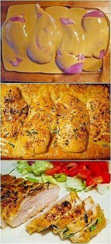 Najlepszy kurczak na świecie  Produkty: 4 piersi kurczaka bez kości i skóry 1/2 szklanki musztardy Dijon 1/4 szklanki syropu klonowego 1 łyżka czerwonego octu winnego sól i piep...