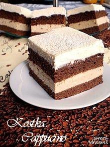 Kostka Cappucino Składniki na ciasto: - 5 jaj - 125 g gorzkiej czekolady, roz...