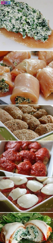Roladki z Kurczaka ze Szpinakiem i Mozzarellą...pychota Farsz: 1 łyżka masła, 250 g szpinaku (może być mrożony), 2 ząbki czosnku, 100 g mozzarelli , sól, pieprz. Na patelni rozpuść masło, dodaj szpinak i odparuj go (z mrożonym ten krok zajmie trochę więcej czasu). Wciśnij czosnek, dopraw solą i pieprzem. Dodaj pokrojoną w kostkę mozzarellę i mieszaj do czasu, aż ser się rozpuści i dokładnie połączy ze szpinakiem. Odstaw do wystygnięcia. Piersi przekrój wzdłuż, tak żeby otrzymać 4 filety. Każdy z nich włóż między folię spożywczą i rozbij na cienki kotlet. Kotlety oprósz z każdej strony solą i pieprzem. Na mięsie ułóż porcję szpinaku i ścisło zawiń w rulonik. Następnie obtocz w bułce tartej wymieszanej z czosnkiem granulowanym i papryka ostrą (możesz zrobić bez panierki będzie wówczas bardziej dietetyczne). Na wierzch połóż ketchup i plaster mozzarelli...
