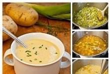 Pyszna, aromatyczna, szybka i pożywna. Takiej zupy nie da się nie lubić. Na zimne popołudnia – idealna! Potrzebujemy: ok litra domowego bulionu 3-4 pory (biała część) 3 ziemniak...