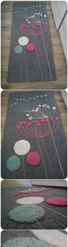 Inspirując się grafiką z netu zrobiłam dywanik do przedpokoju.Materiał z którego go wykonałam to filc techniczny,niebrudzący się, nie wchłaniający wilgoci,czyli idealny na koryt...