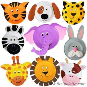 Zwierzęta wykonane na jednorazowych, papierowych talerzykach. na ...