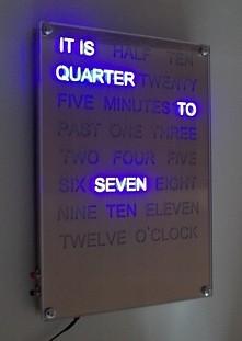 blue word clock