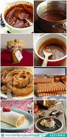 Dulche de leche (konfitura mleczna-cos typu kajmak) Składniki na około 500 ml: 1500 ml mleka (6 szklanek o pojemności 250 ml) 1,5 szklanki cukru szczypta soli 2 łyżeczki ekstrak...
