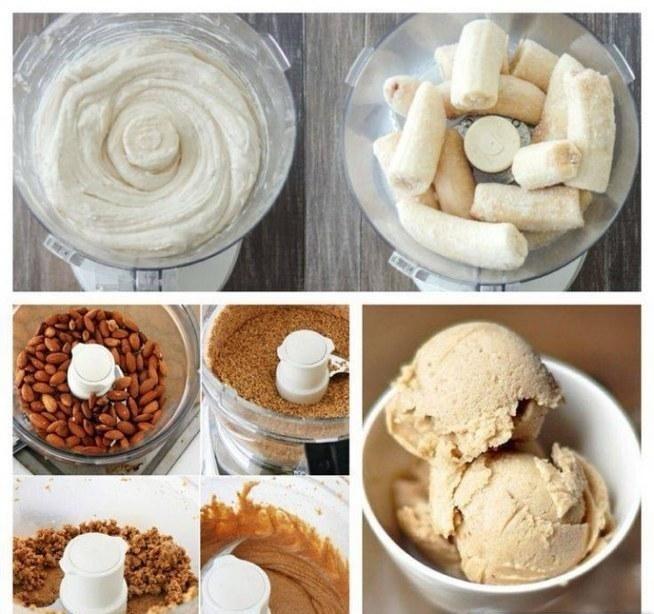 Co powiecie na dietetyczne lody?  Składniki: ▶3 banany  ▶garść migdałów  Obrane banany wkładamy do zamrażarki na ok.3h, bledujemy migdały i dodajemy banany, które również bledujemy z migdałową masą i gotowe