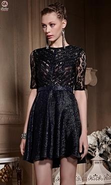 Granatowa, szyta na miarę ekskluzywna sukienka koktajlowa.Stworzona przez pro...