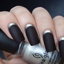 #nails #black&silver