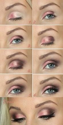 Piękny makijaż dla niebieskich oczu w kolorach koralu <3