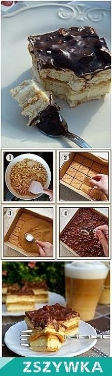 ciasto Maxi King : SKŁADNIKI: ok. 400 g herbatników, 1 puszka gotowego masy krówkowej (lub mleka skondensowanego słodzonego gotowanego przez 2,5 - 3 godziny)  SKŁADNIKI MASY MLE...