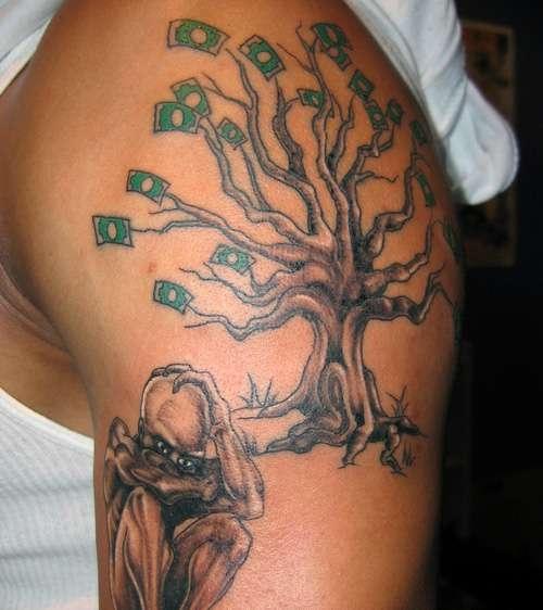 Tatuaże Męskie Na Ramie Drzewo Na Tatuaże Zszywkapl