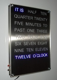 blue word clock ledydesign.com