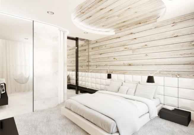 Aranżacja Sypialni Z Drewnem Na ścianie Dominują Tu