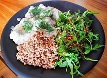 moja wersja: zdrowego obiadu w 20min Klopsiki w sosie koperkowym,kasza i ruko...