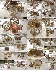 wesele rustykalne - dekoracje - słoiki i kule ze sznurka