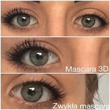 Mascara 3D vs Zwykła mascara. Niestety na zdjęciu nie widać tego mega efektu ja na żywo :c Polecam!! :)