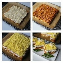 Sałatkowe ciasto, czyli elegancka sałatka na krakersach.  Kliknij w zdjęcie, ...