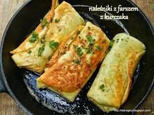 Naleśniki z farszem z kurczaka :) składniki: 200 g gotowanego mięsa kurzego 2...