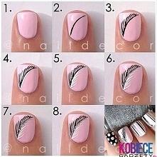 PIÓRKO!!! Prosty modny WZOREK!!! Spróbuj SAMA!!! Mały detal na paznokciach który bardzo fajnie wygląda...Wypróbuj sama...