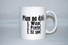Zmęczene życiem dopada każdego. Plan idealny na cięższe dni. Wstać, przeżyć, iść spać. Do zamówienia na nadruko.pl