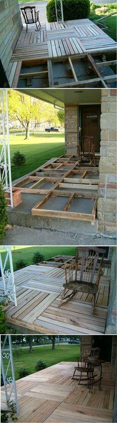 kładziemy drewnianą podłogę na tarasie lub nawet na balkonie z palet lub drewnianych desek kupionych w sklepie budowlanym. Później można pomalować lakierem lub lakierobejcą