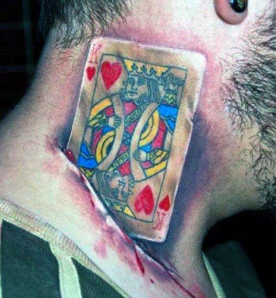 tatua e 3d karta na szyi na tatua e