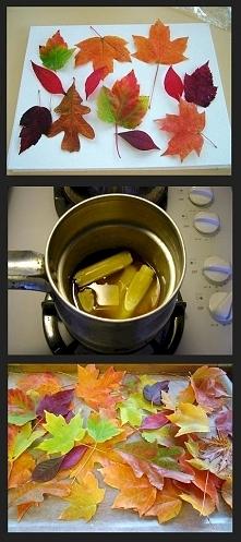 Woskowane liście: Upewnij się, że liście sa zupełnie suche. Rozgrzej w garnku...