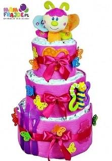 """Tort z pampersów """"Kolorowy Motylek"""". Składany przez nas ręcznie tort z pieluszek firmy Pampers i praktycznych dodatków dla dziecka.Idealny prezent na Chrzest, Baby Sh..."""