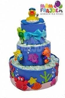 """Tort z pampersów """"Podwodny Świat"""". Składany przez nas ręcznie tort z pieluszek firmy Pampers i praktycznych dodatków dla dziecka.Idealny prezent na Chrzest, Baby Show..."""
