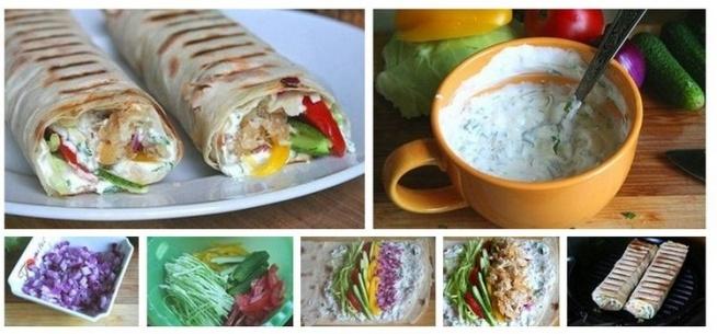 PRZEPIS:  Tortilla z kurczakiem i warzywami /1 porcja/ 1 razowy placek tortilla 90g piersi z kurczaka  1/2 pomidora 1/4 papryki czerwonej 1/4 ogórka 1 duży liść sałaty lodowej ostra papryka w proszku, zioła prowansalskie sos czosnkowy (jogurt, czosnek, przyprawy) oliwa  Kurczaka, paprykę, ogórka, cebulę pokroić. Na patelni usmażyć kurczaka, dodać paprykę, przyprawić. Wymieszać i trzymać chwilę na małym ogniu. Tortille podgrzać, posmarować sosem, wyłożyć porwany liść sałaty, kawałki ogórka i zawartość patelni. Zwinąć, zapiec na grillu lub tosterze a następnie zjeść.