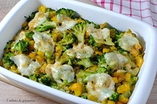 Zapiekanka z kaszy jaglanej z brokułami, porem i papryką