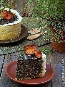 Tarta z grzybami leśnymi i kaszą