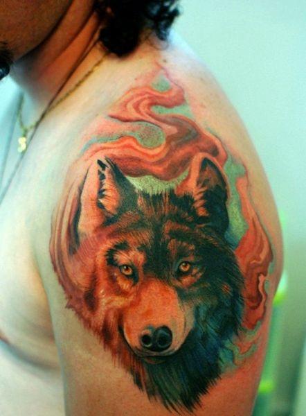 Tatuaże Męskie Wilk Na Ramie Na Tatuaże Zszywkapl