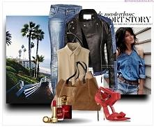 fashionavenue.pl Stylizacja kurtka damska ramoneska skóra jeans na wiosnę i lato najmodniejsza model #101